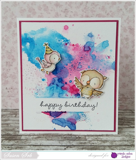 Susen Srb - Sunny and Ruby Watercolor Background Card