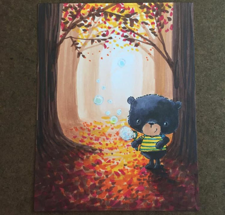 Sandy Allnock - Jackson and Bubbles Autumn Background Card