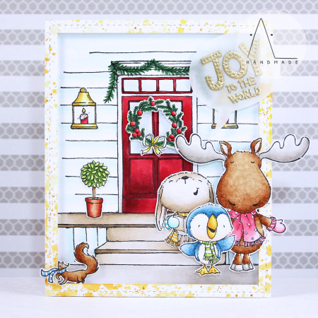 Anna Lorenzetto - Front Door Caroling Critters Card