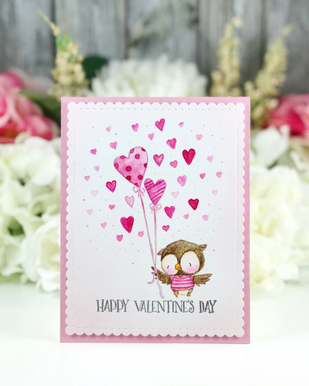 Amy Yang - Flying Owl with Heart Balloons -  Valentine's Day Card