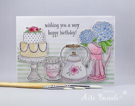 Agnieszka Danek-Wisniak - Tiered Cake Tea Time Hydragneas Birthday Card