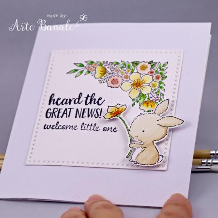 Agnieszka Danek-Wisniak - Bella Floral Corner Welcome Little One Card Front