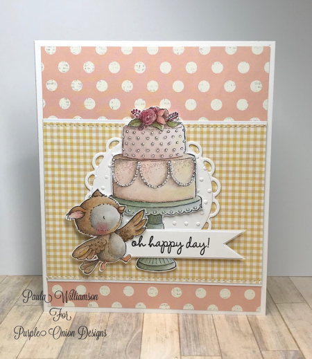 Paula Williamson - Tiered Cake and Hoot Card