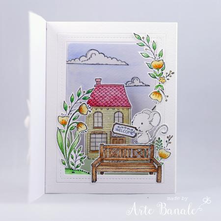 Agnieszka Danek-Wisniak - Bella Floral Corner Welcome Little One Card inside dotty dwelling