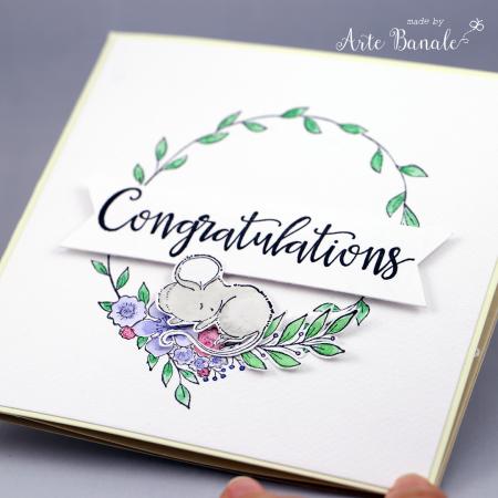 Agnieszka Danek - Wisniak Floral Wreath Eve Bella Baby Card front