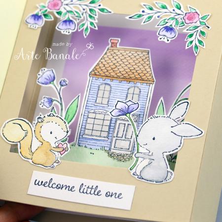 Agnieszka Danek - Wisniak Floral Wreath Eve Bella Baby Card detail