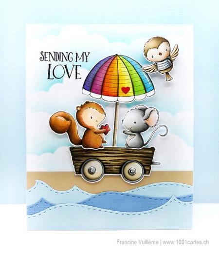 Francine Vuillème - Dotty Pecan Robin Wagon with Umbrella Card