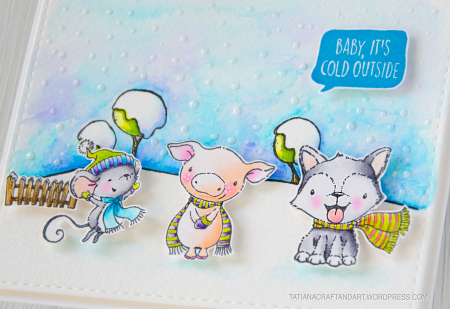 Tatiana Trafimovich - Maggie Curly and Blizzard Baby Its Cold Outside Card - detail