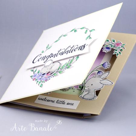 Agnieszka Danek - Wisniak Floral Wreath Eve Bella Baby Card peek