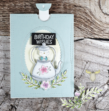Sandra Bischoff - Teapot and Gracie Card pull tab