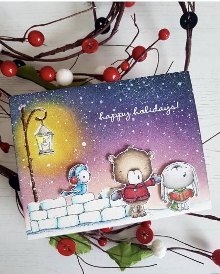 Rowena Miniaci - Noel Snowball Silver Snow Fort Card