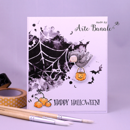 Agnieskska Danek-Wisniak - Ginger Happy Pumpkins Trick or Treat Card - front with little boo