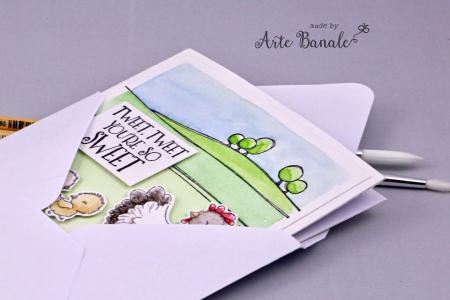 Agnieszka Danek-Wisniak - Eloise and Chicks Tweet Card cover in envelope