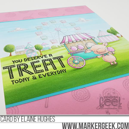Elaine Hughes - Pinky Cotton Candy Treat Marquee Fairgrounds card - detail