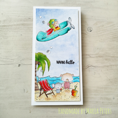 Maria Peters - Beach Scene Card - T bird Sandy Shelly Palm tree and beach chair