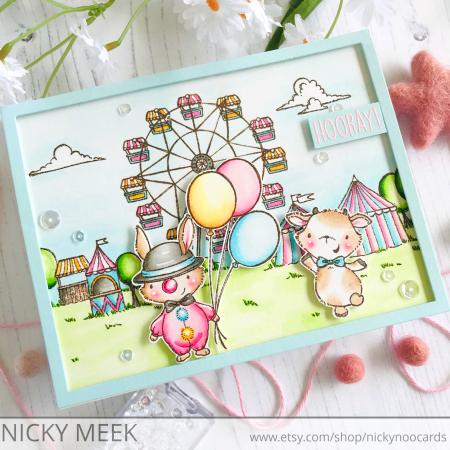 Nicky Meek - Clown Billy Fairgrounds Card