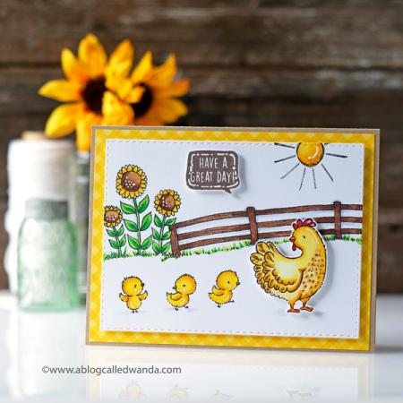 Wanda Guess - Eloise and chicks sunflower card