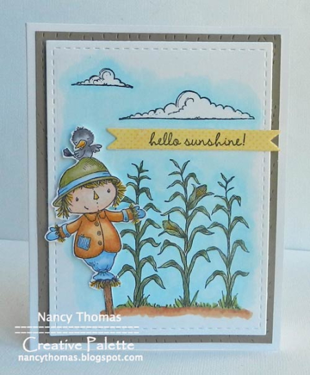 Nancy Thomas POD Scarecrow Corn Stalks Clouds