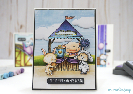 Mindy Baxter - Fair Booth with Carmel Pink and Wooley Let The Fun and Games Begin Card