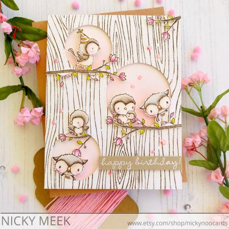 Nicola Meek - Wood Grain Bird Card
