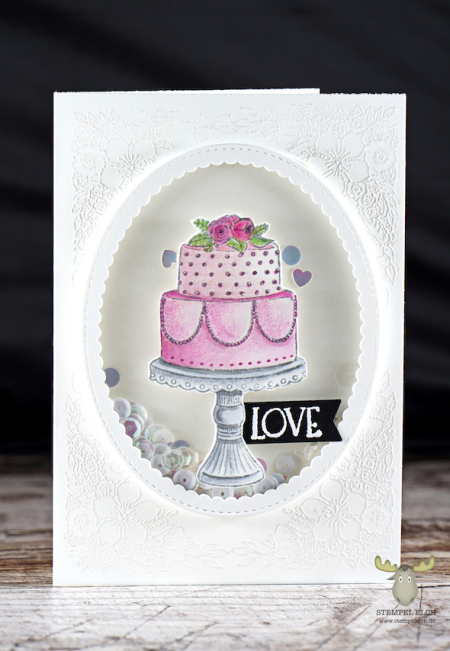 Sandra Bischoff - Tiered Cake Card with floral embossed background