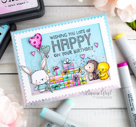 Leanne West - Everyday Marquee Birthday with Willa Milly Daisy and Presents Shaker Card