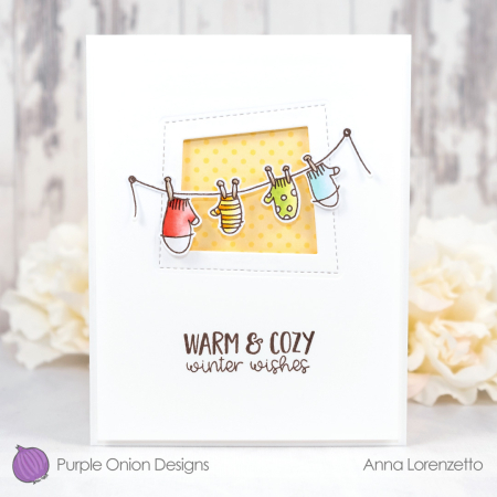 Anna lorenzetto - mitten clothesline and warming winter thoughts sentiment set