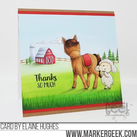 Elaine Hughes - Misty and Wooley Farm Thanks So Much Card