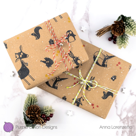 Anna lorenzetto - JC silhouettes - wrapping paper with frances claude tux marshmallow frankie federick and gifts - 2
