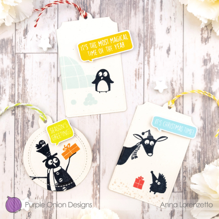 Anna lorenzetto - JC silhouettes - tags with tux frances claude snowman and gifts - 1