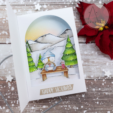 Anna lorenzetto - shadow box card with louis pine tree farm and mountains