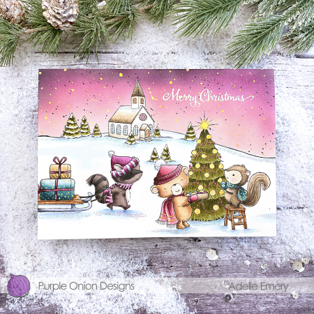 Adelle Emery - Flannel Chestnut Tinsel Sparkle Church Card