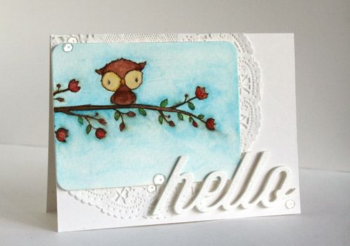 Alice Wertz - Shadow and BlossomingPerch Hello Card