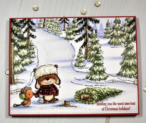 Amy Young - Winter Trail Red and Silver Card