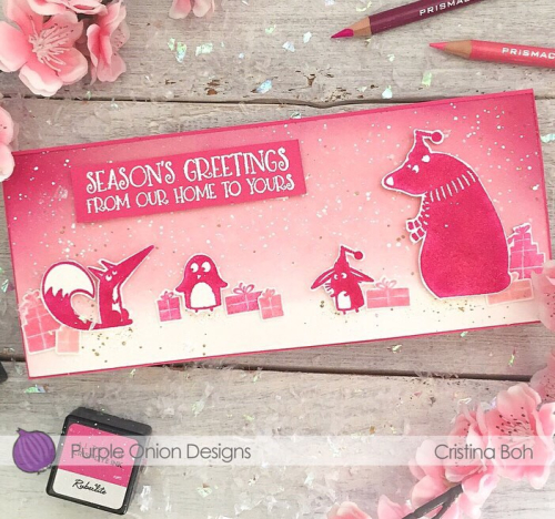 Christina Boh - Pink Winter Silhoutte Card