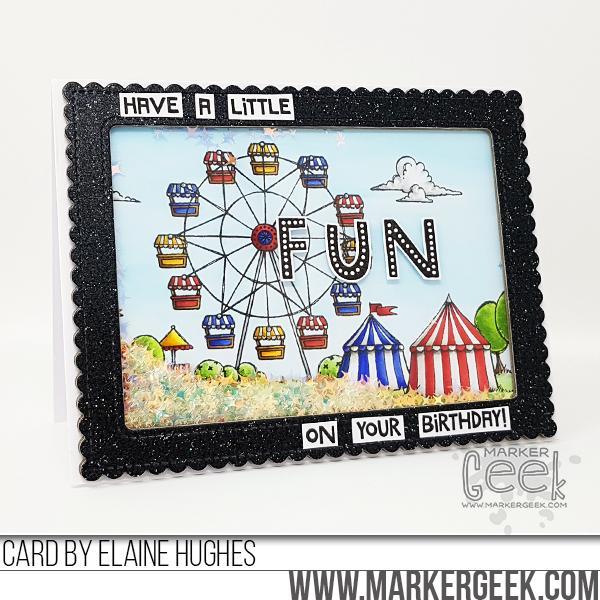 Elaine Hughes - Fairgrounds Black Frame Shaker Birthday Card