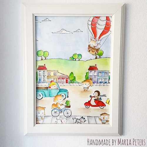 Maria Peters - Framed Watercolor Town Scene