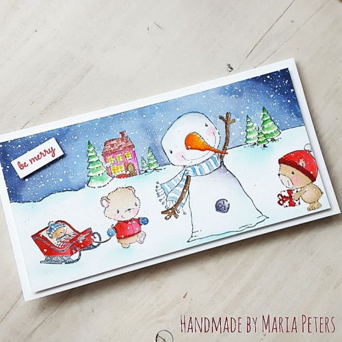 Maria Peters - Jolly Oakley Theodore and Little Be Merry Card